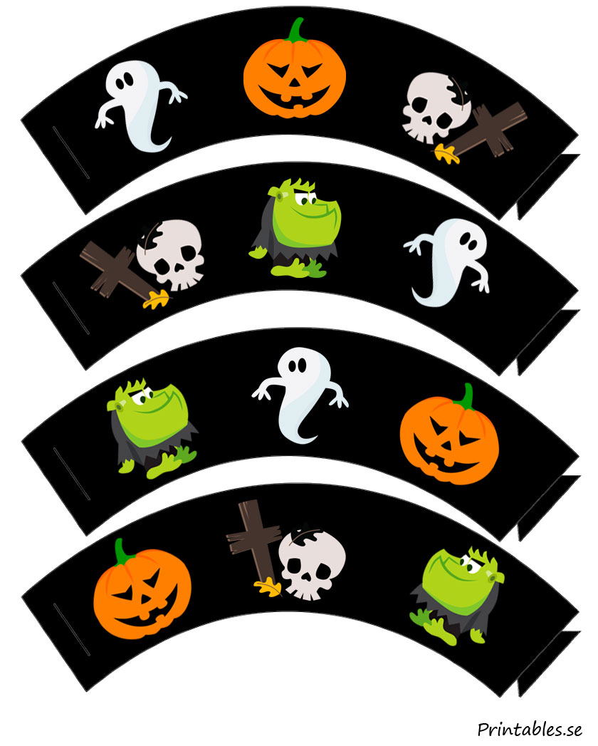 Free printable  Cupcake wrappers with Hallooween figures