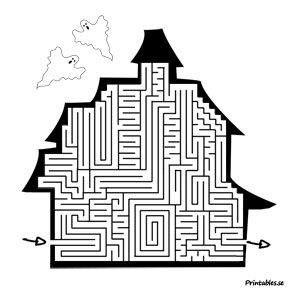 Maze: Hauted hause  | Free printable for Halloween