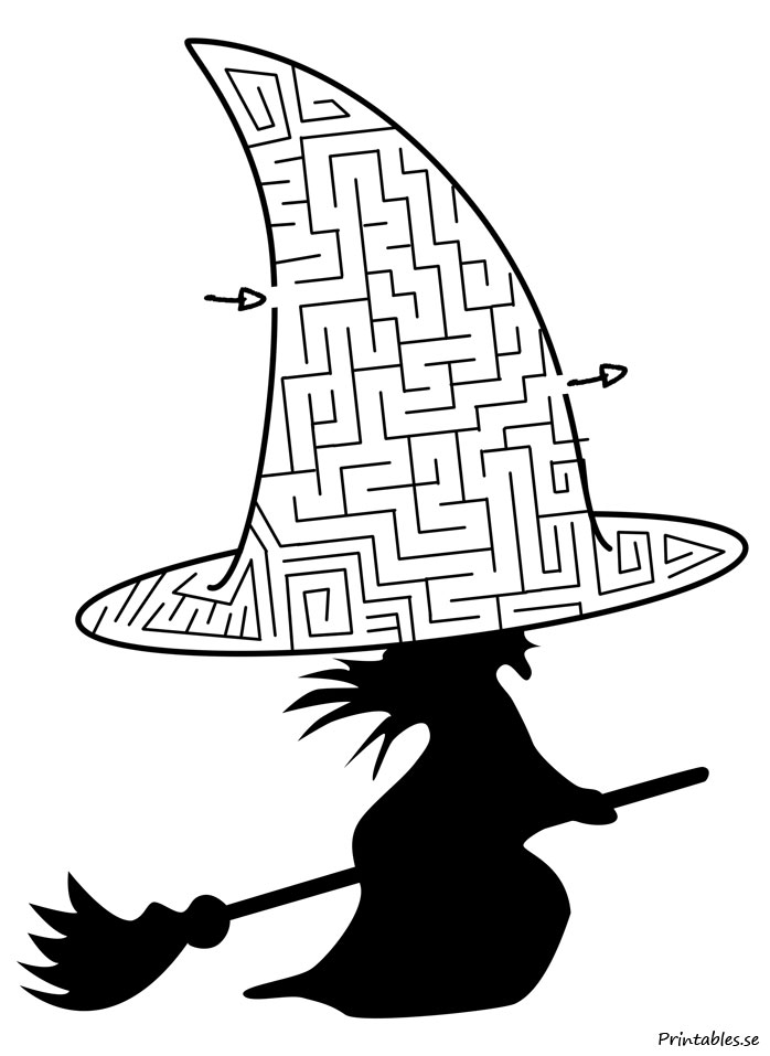 Free printable  Maze: Witch hat