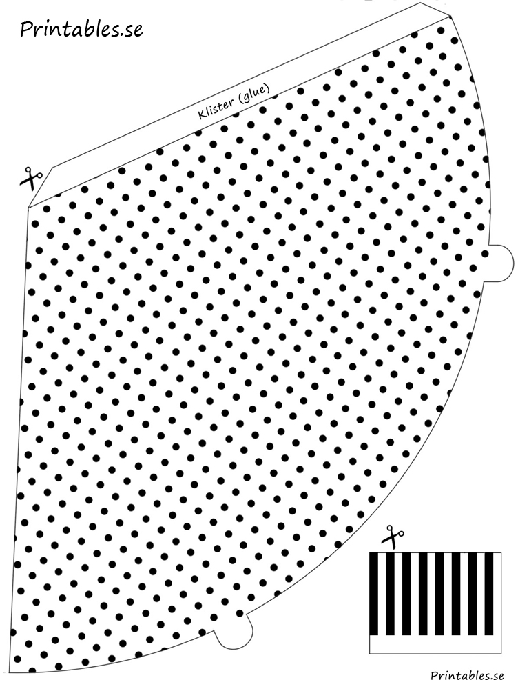 Free printable  White party hat with black polka dots