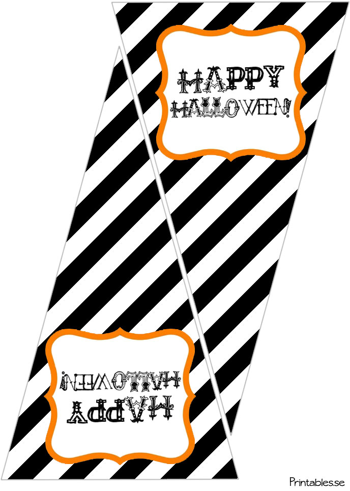 image regarding Printable Halloween Banners known as Pennants with Delighted Hallowen (no cost printable)
