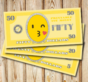 Toy money with emojis: Fifty dollars  | Free printable toy