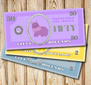 Toy money with hippos: Fifty dollars  | Free printable toy