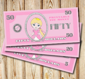 Pink toy money with princesses: Fifty dollars  | Free printable toy