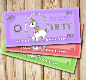 Toy money with unicorns: Fifty dollars  | Free printable toy