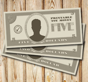 Toy money: Five dollars  | Free printable toy