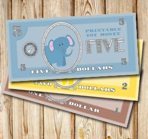 Toy money with elephants: Five dollars  | Free printable toy
