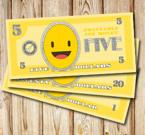 Toy money with emojis: Five dollars  | Free printable toy