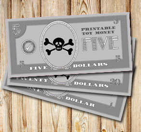 Toy money for pirates: Five dollars  | Free printable toy