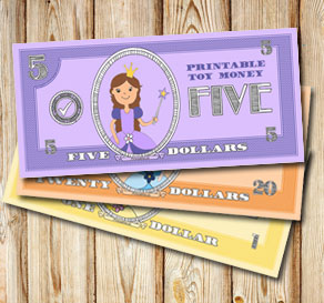 Toy money with princesses: Five dollars  | Free printable toy