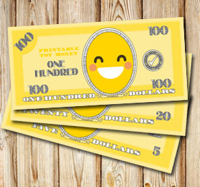 Toy money with emojis: One hundred dollars  | Free printable toy