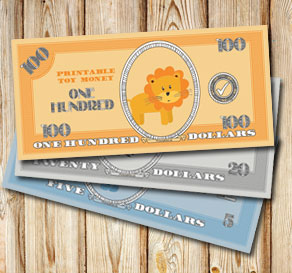 Toy money with lions: One hundred dollars  | Free printable toy