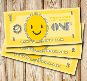 Toy money with emojis: One dollar  | Free printable toy