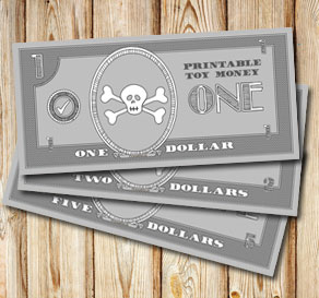 Toy money for pirates: One dollar  | Free printable toy