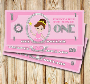Pink toy money with princesses: One dollar  | Free printable toy