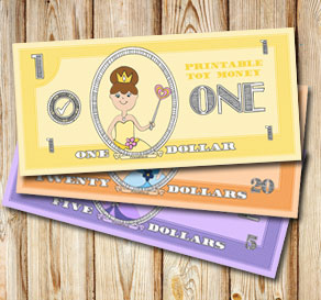 Toy money with cute princesses: One dollar  | Free printable toy