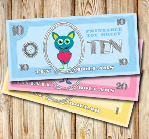 Toy money with cute monsters: Ten dollars  | Free printable toy