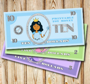 Toy money with princesses: Ten dollars  | Free printable toy