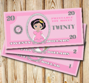 Pink toy money with princesses: Twenty dollars  | Free printable toy