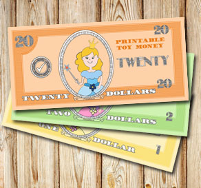 Toy money with cute princesses: Twenty dollars  | Free printable toy