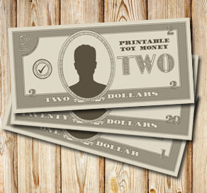 Toy money: Two dollars  | Free printable toy