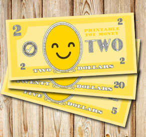 Toy money with emojis: Two dollars  | Free printable toy