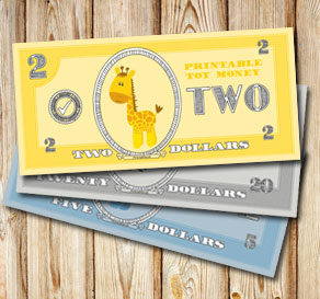 Toy money with giraffes: Two dollars  | Free printable toy