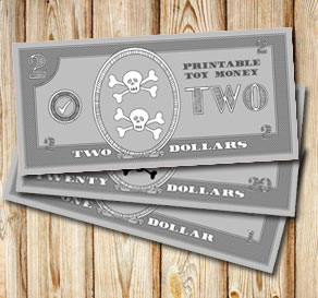 Toy money for pirates: Two dollars  | Free printable toy
