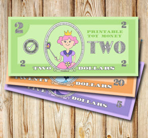 Toy money with cute princesses: Two dollars  | Free printable toy