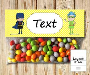 Yellow bag toppers with superheroes 1  | Free printable bag topper