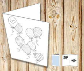 Birthday card: Balloons to color yourself  | Free printable card