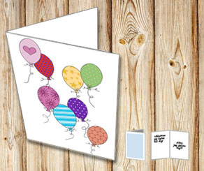 Birthday card: Colorful balloons  | Free printable card