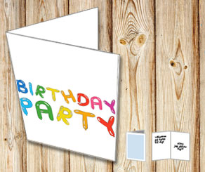 Balloon text: Birthday party  | Free printable card