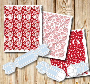 Bon bon boxes with red and white christmas pattern  | Free printable for Christmas