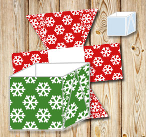 Boxes with red and green green christmas pattern  | Free printable for Christmas