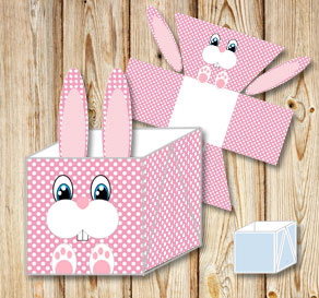 Pink easter basket (box) in with white dots and the...  | Free printable for Easter