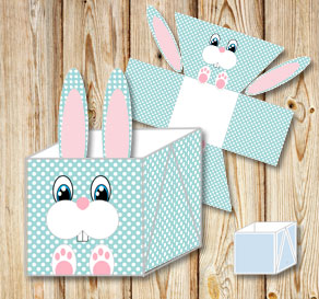 Turquoise easter basket (box) in with white dots an...  | Free printable for Easter