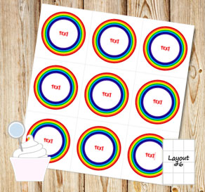 Cupcake toppers with rainbow and text  | Free printable cupcake wrappers and toppers