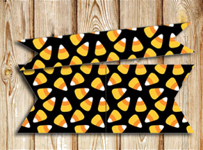 Straw decorations with candycorn  | Free printable for Halloween