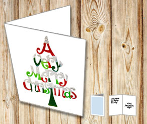 Card with A very merry christmas tree  | Free printable for Christmas