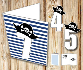Dark blue and white striped card with pirate number...  | Free printable card