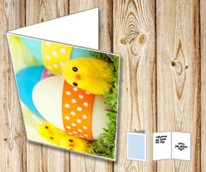 Easter card with chicks and easter eggs  | Free printable for Easter