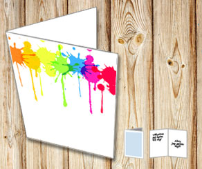 Card with colorful splashes of paint  | Free printable card