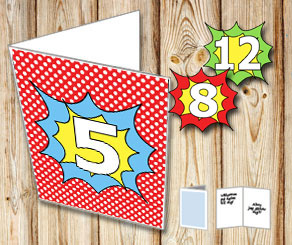 Red card with white dots and comic 0 - 18  | Free printable card