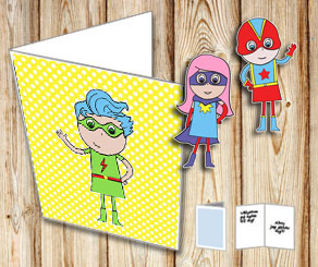 Yellow card with white dots and a super hero  | Free printable card