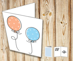 Card with dotted balloons 2  | Free printable card