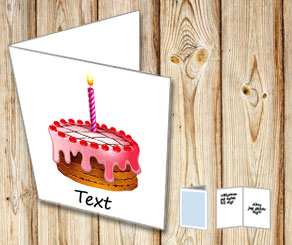 White card with birthday cake 1  | Free printable card