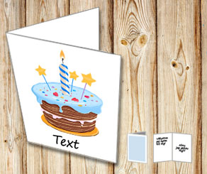 White card with birthday cake 2  | Free printable card