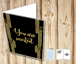 Black invitation with a Gatsby theme  | Free printable card
