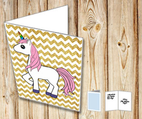 Chevron pattern gold glitter card with a unicorn 2  | Free printable card